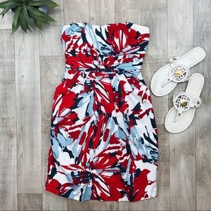 Snap red white blue strapless dress size 7 NWT